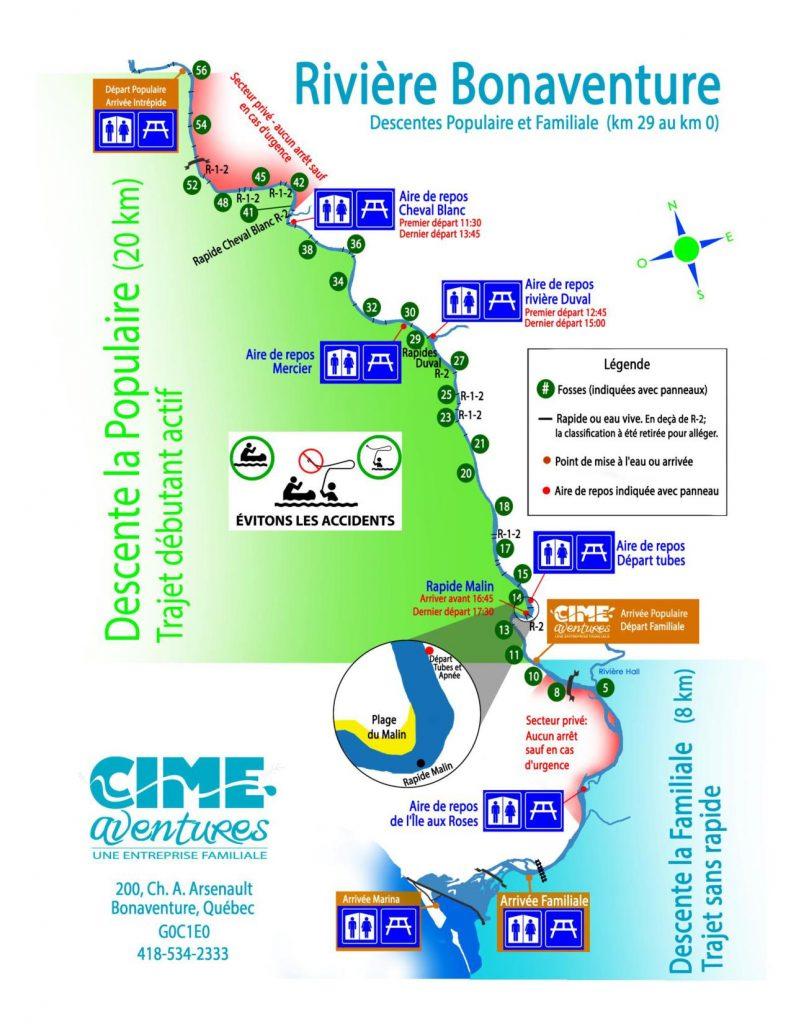 Une carte expliquant la rivière Bonaventure pour les participants de la descente la familiale