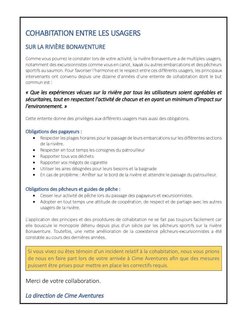 L'entente de cohabitation entre les usagers de la rivière Bonaventure pour les participants de la descente la familiale