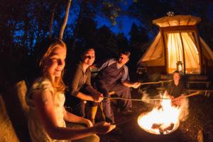 Ready to camp tipi, Bonaventure river, Cime Aventures