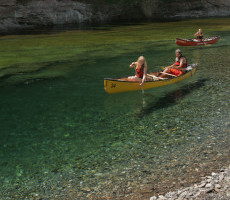 Canoeing on the crystal clear Bonaventure