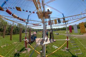 Unique in Gaspésie, our aerial course is a 2018 novelty! 3 stories of aerial games with various difficulty levels. 2 ziplines over 100 meters each. Ideal activity for adults and big kids. A must during your stay in the Gaspe Area.