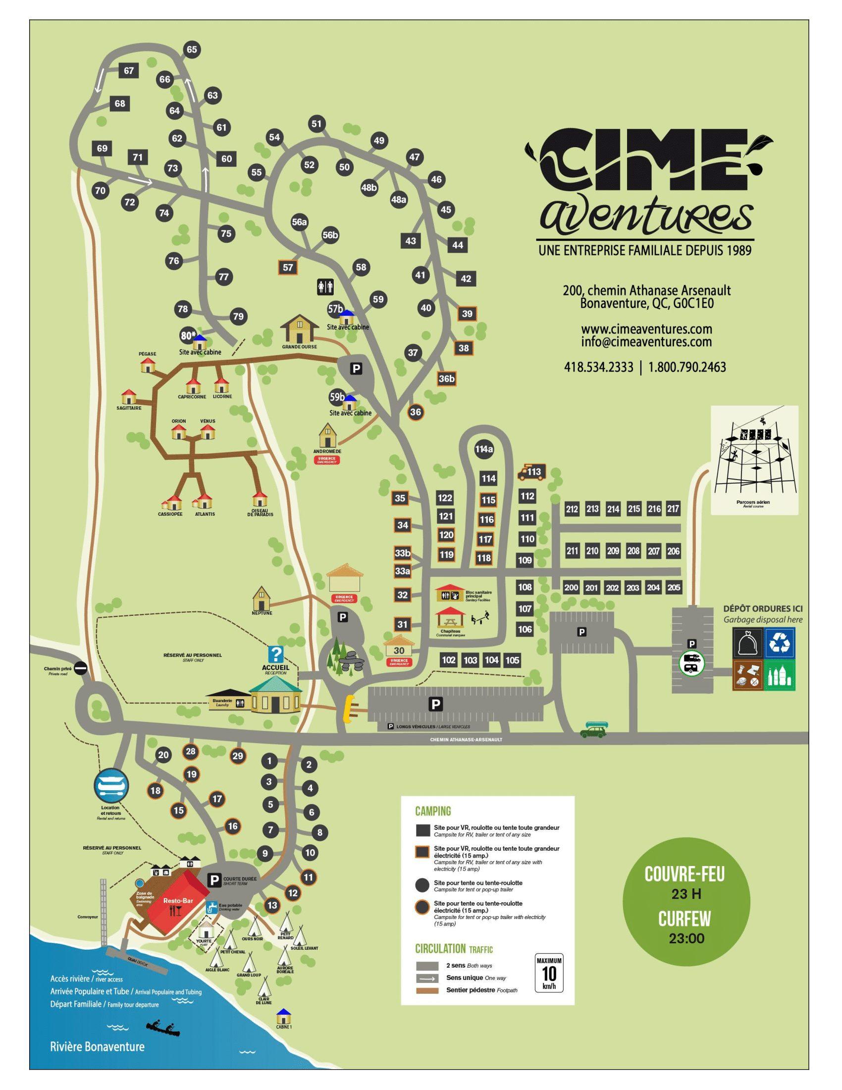 The map of Cime Aventures in Bonaventure in Gaspesie